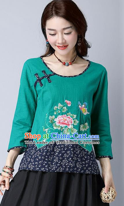 Traditional Chinese National Costume, Elegant Hanfu Embroidery Flowers Round Collar Green T-Shirt, China Tang Suit Plated Buttons Chirpaur Blouse Cheong-sam Upper Outer Garment Qipao Shirts Clothing for Women