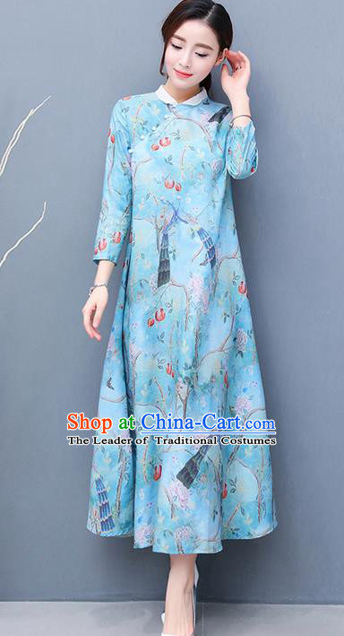 Traditional Ancient Chinese National Costume, Elegant Hanfu Qipao Printing Stand Collar Long Blue Dress, China Tang Suit Cheongsam Garment Elegant Dress Clothing for Women