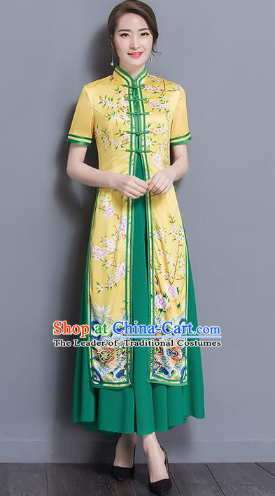 Traditional Ancient Chinese National Costume, Elegant Hanfu Silk Qipao Printing Stand Collar Two Piece Ao Dai Dress, China Tang Suit Cheongsam Garment Elegant Dress Clothing for Women