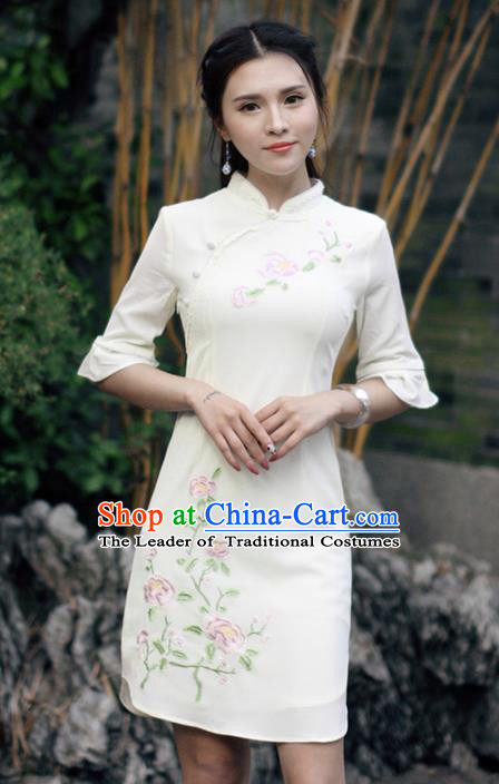 Traditional Ancient Chinese National Costume, Elegant Hanfu Linen Embroidered White Short Cheongsam Dress, China Tang Suit Upper Outer Garment Elegant Dress Clothing for Women