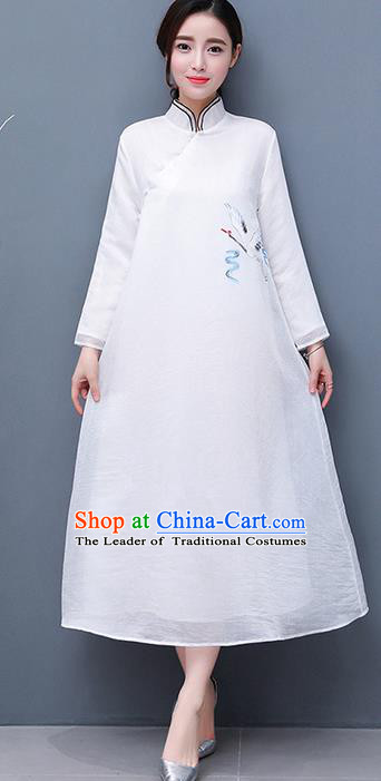 Traditional Ancient Chinese National Costume, Elegant Hanfu Qipao Hand Painting Crane Stand Collar White Dress, China Tang Suit Cheongsam Garment Elegant Dress Clothing for Women