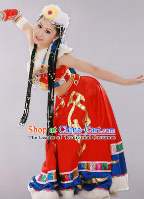 Traditional Chinese Zang Nationality Dancing Costume, Tibetan Female Folk Dance Ethnic Skirt, Chinese Tibetan Minority Nationality Embroidery Costume for Women