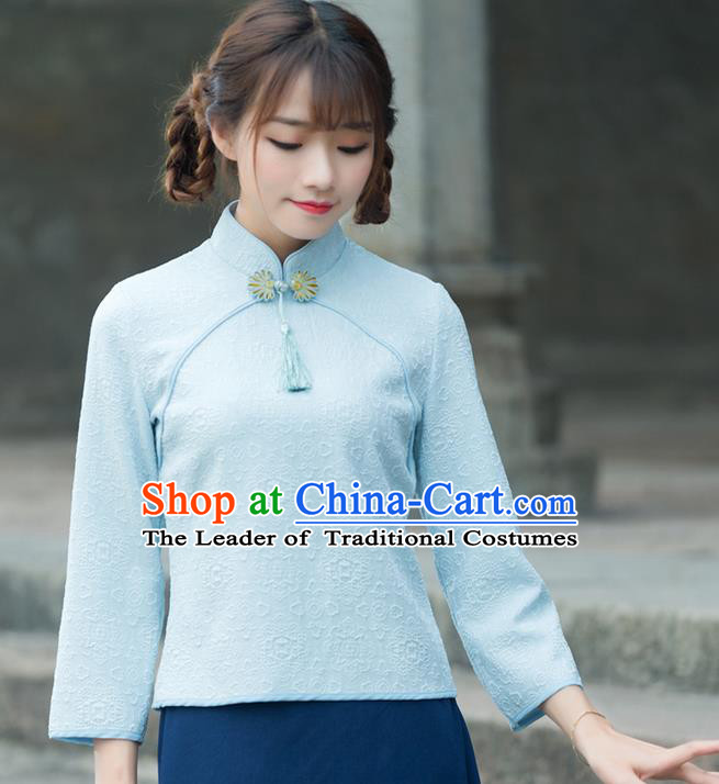 Traditional Chinese National Costume, Elegant Hanfu Jacquard Weave Blue T-Shirt, China Tang Suit Republic of China Plated Buttons Chirpaur Blouse Cheong-sam Upper Outer Garment Qipao Shirts Clothing for Women