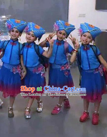 Traditional Chinese Zhuang Nationality Dancing Costume, Children Folk Dance Ethnic Pleated Skirt, Chinese Minority Nationality Embroidery Costume for Kids