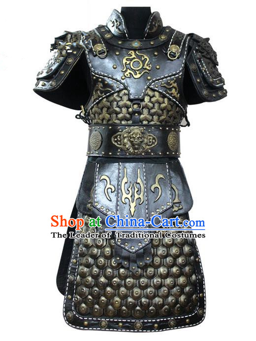 Traditional Chinese Ancient Peking Opera Armour Costume Complete Set, Tang Dynasty General Soldiers Armor Clothing for Men