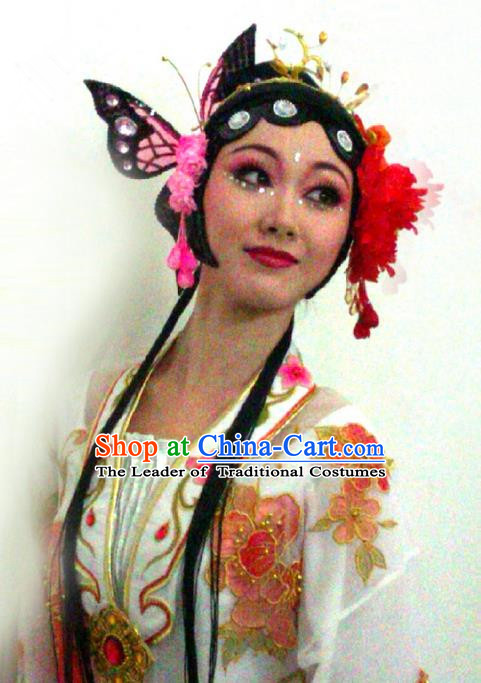 Traditional Ancient Chinese Classical Peking Opera Hair Accessories Props, Peking Opera Headwear Classical Dance Wigs for Women