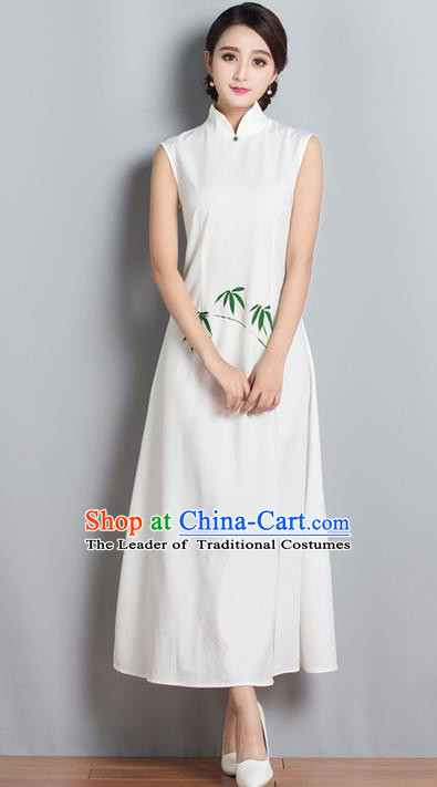 Traditional Ancient Chinese National Costume, Elegant Hanfu Mandarin Qipao Embroidered Bamboo Stand Collar Dress, China Tang Suit Chirpaur Republic of China Cheongsam Upper Outer Garment Elegant Dress Clothing for Women