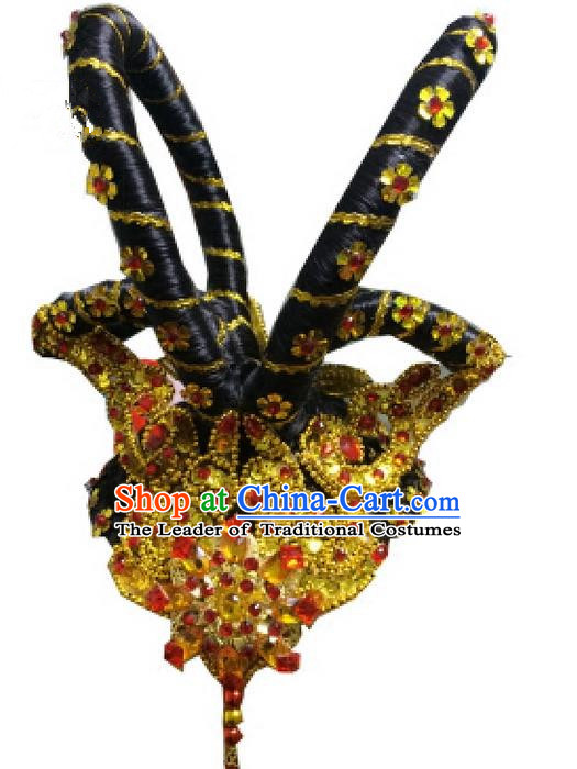 Traditional Ancient Chinese Classical Peking Opera Hair Accessories Props, Peking Opera Headwear Classical Flying Dance Hair Ornaments for Women