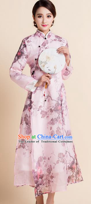 Traditional Ancient Chinese National Costume, Elegant Hanfu Mandarin Qipao Organza Printing Stand Collar Dress, China Tang Suit Chirpaur Republic of China Cheongsam Upper Outer Garment Elegant Dress Clothing for Women
