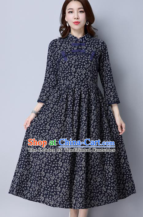 Traditional Ancient Chinese National Costume, Elegant Hanfu Floral Qipao Linen Stand Collar Navy Dress, China Tang Suit Cheongsam Upper Outer Garment Elegant Dress Clothing for Women