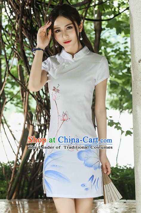Traditional Ancient Chinese National Costume, Elegant Hanfu Qipao Linen Hand Painting Lotus Stand Collar White Dress, China Tang Suit Cheongsam Garment Elegant Dress Clothing for Women