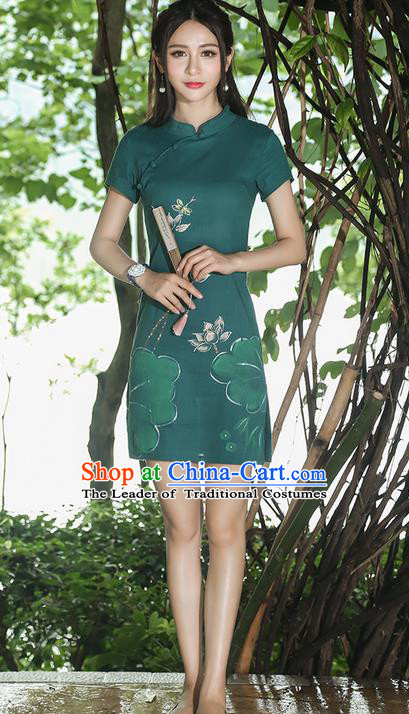 Traditional Ancient Chinese National Costume, Elegant Hanfu Qipao Linen Hand Painting Lotus Stand Collar Green Dress, China Tang Suit Cheongsam Garment Elegant Dress Clothing for Women