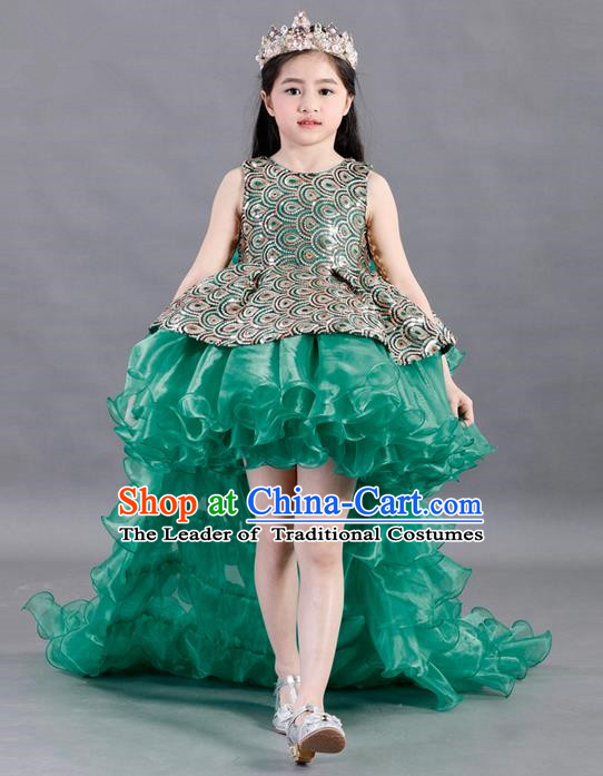 Traditional Chinese Modern Dancing Compere Costume, Children Opening Classic Chorus Singing Group Dance Paillette Uniforms, Modern Dance Classic Dance Green Trailing Dress for Girls Kids