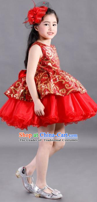 Traditional Chinese Modern Dancing Compere Costume, Children Opening Classic Chorus Singing Group Dance Paillette Uniforms, Modern Dance Classic Dance Red Bubble Dress for Girls Kids