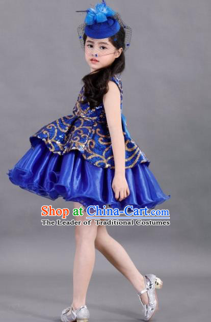 Traditional Chinese Modern Dancing Compere Costume, Children Opening Classic Chorus Singing Group Dance Paillette Uniforms, Modern Dance Classic Dance Blue Bubble Dress for Girls Kids