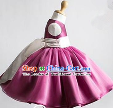 Traditional Chinese Modern Dancing Performance Costume, Children Opening Classic Chorus Singing Group Dance Evening Dress, Modern Dance Classic Dance Bubble Princess Purple Dress for Girls Kids