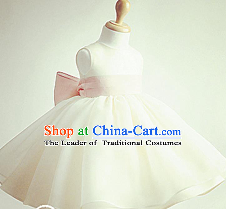 Traditional Chinese Modern Dancing Performance Costume, Children Opening Classic Chorus Singing Group Dance Evening Dress, Modern Dance Classic Dance Bubble Princess White Dress for Girls Kids
