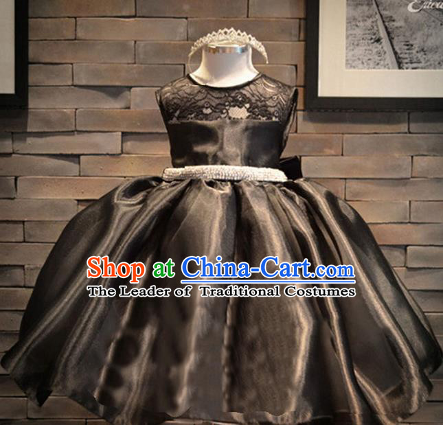 Traditional Chinese Modern Dancing Compere Costume, Children Opening Classic Chorus Singing Group Dance Embroidery Dress, Modern Dance Classic Dance Black Bubble Dress for Girls Kids