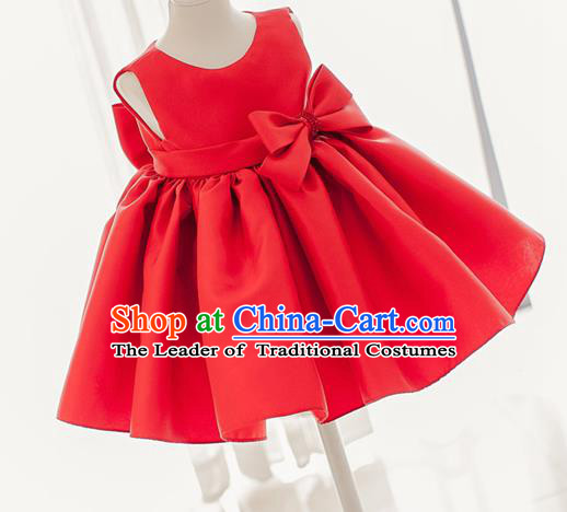 Traditional Chinese Modern Dancing Compere Costume, Children Opening Classic Chorus Singing Group Dance Dress, Modern Dance Classic Dance Red Bubble Dress for Girls Kids