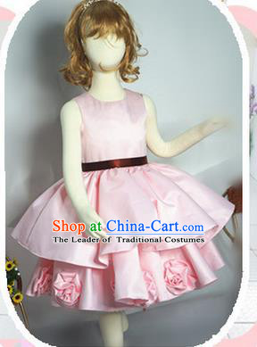 Traditional Chinese Modern Dancing Compere Performance Costume, Children Opening Classic Chorus Singing Group Dance Satin Dinner Dress, Modern Dance Classic Dance Pink Bubble Dress for Girls Kids