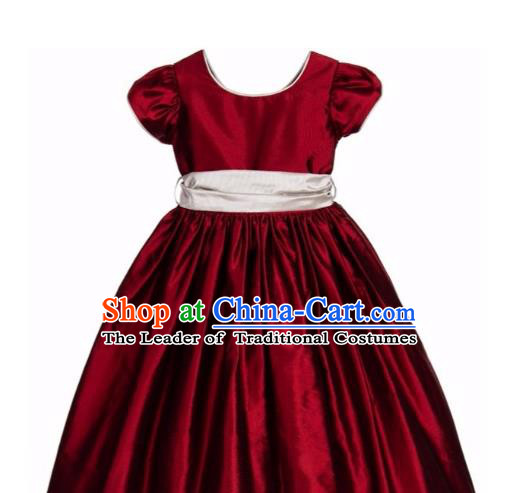 Traditional Chinese Modern Dancing Compere Performance Costume, Children Opening Classic Chorus Singing Group Dance Long Bowknot Dinner Dress, Modern Dance Classic Dance Bubble Dress for Girls Kids