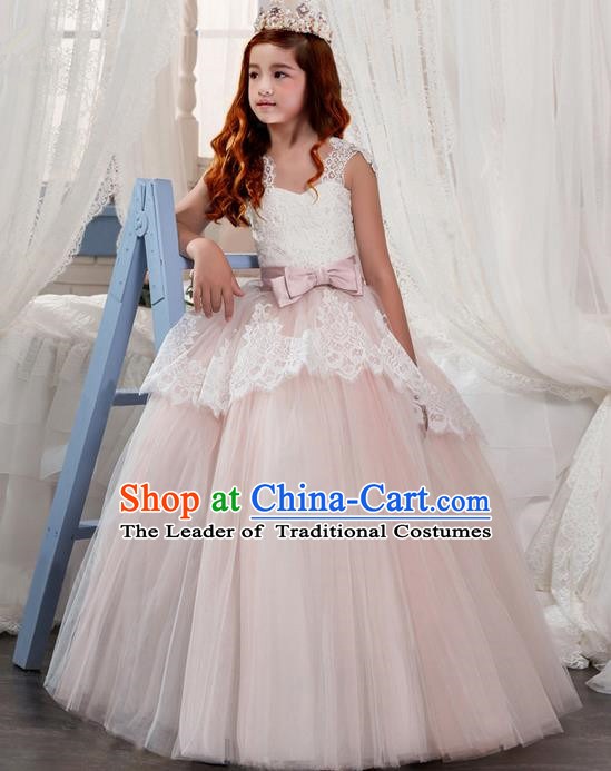 Traditional Chinese Modern Dancing Compere Performance Costume, Children Opening Classic Chorus Singing Group Dance Veil Bowknot Evening Dress, Modern Dance Classic Dance Pink Bubble Dress for Girls Kids