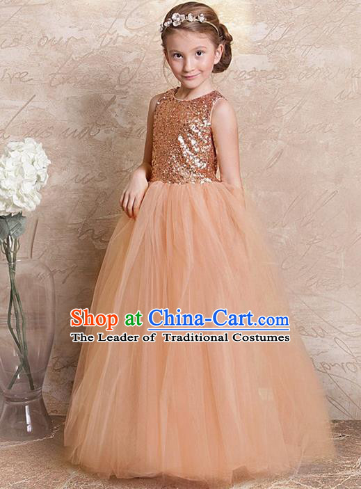 Traditional Chinese Modern Dancing Compere Performance Costume, Children Opening Classic Chorus Singing Group Dance Long Champagne Veil Evening Dress, Modern Dance Classic Dance Bubble Dress for Girls Kids
