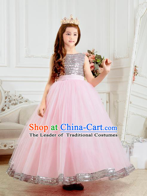 Traditional Chinese Modern Dancing Compere Performance Costume, Children Opening Classic Chorus Singing Group Dance Long Big Bowknot Pink Evening Dress, Modern Dance Classic Dance Bubble Dress for Girls Kids
