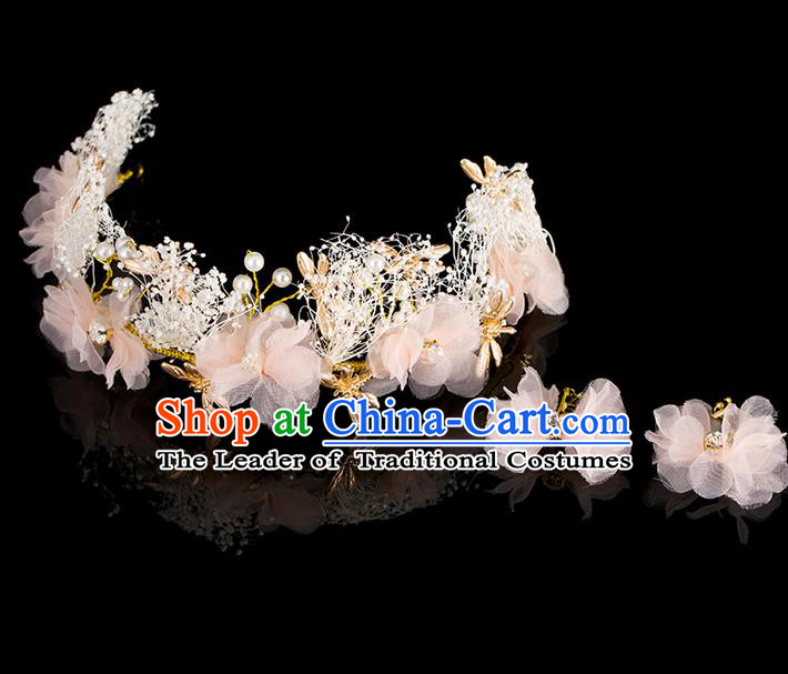 Top Grade Handmade Chinese Classical Hair Accessories, Children Baroque Style Headband Pearl Princess Royal Crown Flowers Coronet, Hair Sticks Hair Jewellery, Hair Clasp for Kids Girls