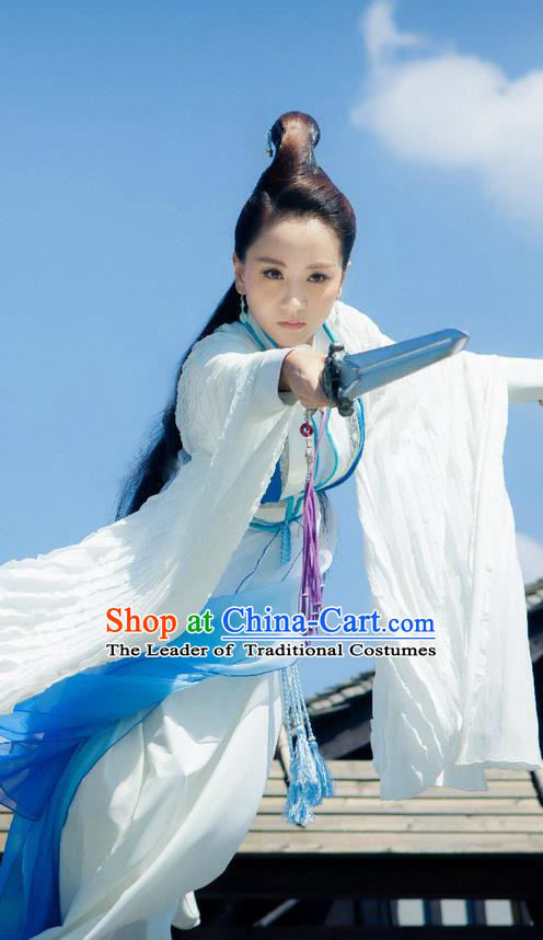 Traditional Ancient Chinese Swordswoman Elegant Costume, Chinese Ming Dynasty Chivalrous Heroine Dress, Cosplay Chinese Television Drama Flying Daggers Princess Hanfu Clothing for Women