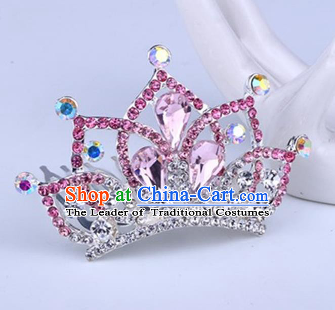 Top Grade Handmade Chinese Classical Hair Accessories, Children Baroque Style Headband Princess Royal Crown Pink Rhinestone Imperial Crown, Hair Sticks Hair Jewellery, Hair Clasp for Kids Girls