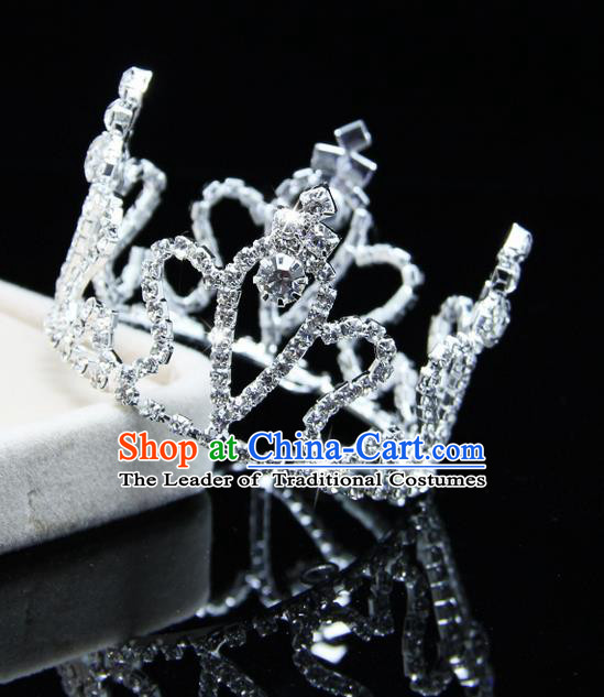 Top Grade Handmade Chinese Classical Hair Accessories, Children Baroque Style Headband Princess Royal Crown Rhinestone Round Imperial Crown, Hair Sticks Hair Jewellery, Hair Clasp for Kids Girls