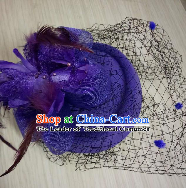 Top Grade Handmade Chinese Classical Hair Accessories, Children Baroque Style Headband Princess Purple Veil Top-hat, Hair Sticks Headwear Hats for Kids Girls