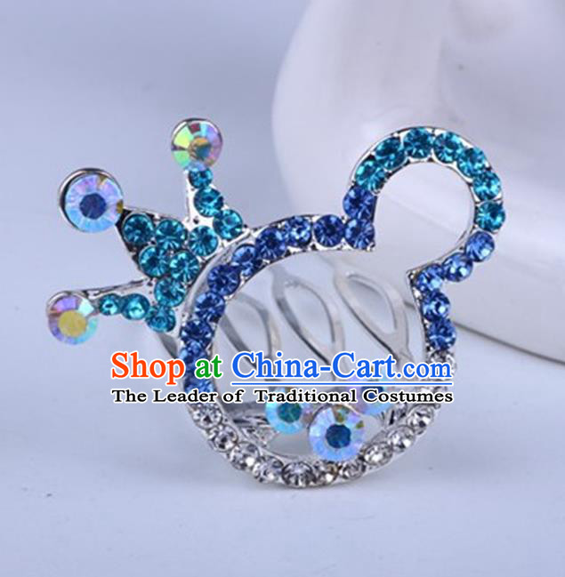 Top Grade Handmade Chinese Classical Hair Accessories, Children Baroque Style Headband Princess Blue Rhinestone Cute Royal Crown, Hair Sticks Hair Jewellery, Cartoon Hair Clasp for Kids Girls