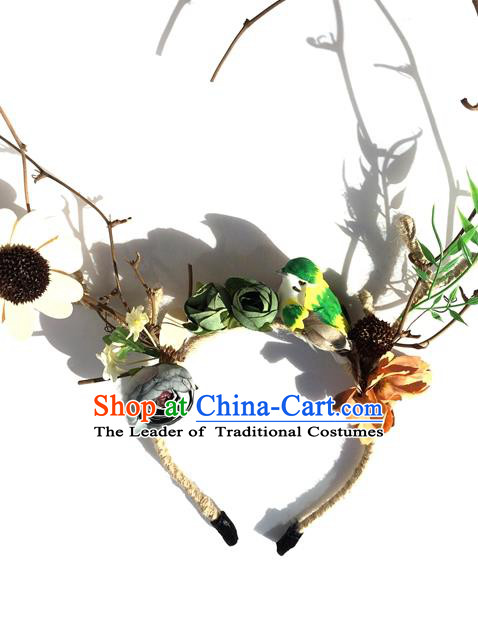 Top Grade Handmade Chinese Classical Hair Accessories, Children Baroque Style Headband, Hair Sticks Hair Jewellery, Antlers Hair Clasp for Kids Girls