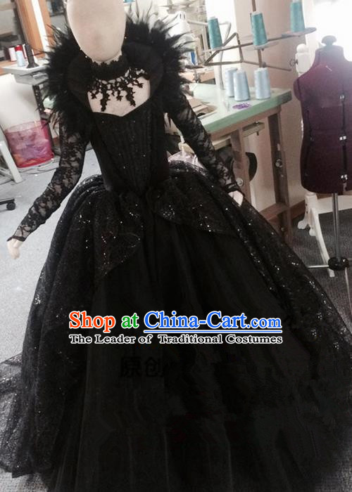 Traditional Chinese Modern Dancing Compere Performance Costume, Children Opening Classic Chorus Singing Group Dance Princess Black Trailing Full Dress, Modern Dance Halloween Party Dress for Girls Kids