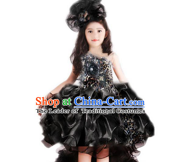 Traditional Chinese Modern Dancing Compere Performance Costume, Children Opening Classic Chorus Singing Group Dance Princess Black Leopard Trailing Full Dress, Modern Dance Halloween Party Dress for Girls Kids
