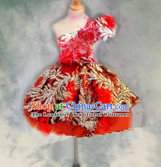 Traditional Chinese Modern Dancing Compere Performance Costume, Children Opening Classic Chorus Singing Group Dance Princess One-shoulder Red Bubble Full Dress, Modern Dance Halloween Party Dress for Girls Kids