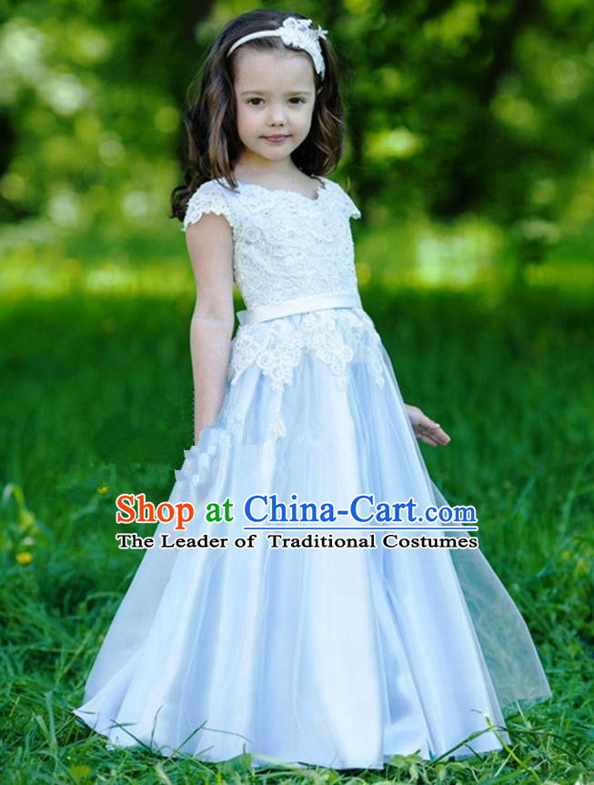 Traditional Chinese Modern Dancing Compere Performance Costume, Children Opening Classic Chorus Singing Group Dance Princess Blue Long Full Dress, Modern Dance Halloween Party Dress for Girls Kids