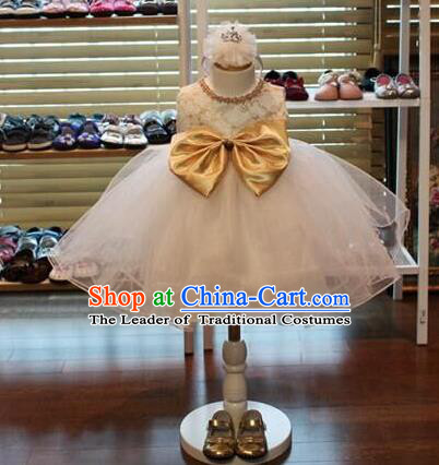 Traditional Chinese Modern Dancing Compere Performance Costume, Children Opening Classic Chorus Singing Group Dance Princess Bubble Full Dress, Modern Dance Halloween Party Ballet Dance Dress for Girls Kids