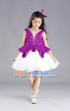 Traditional Chinese Modern Dancing Compere Costume, Children Opening Classic Chorus Singing Group Dance Purple Paillette Full Dress, Modern Dance Classic Dance Bubble Dress for Girls Kids