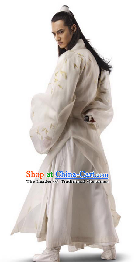 Traditional Ancient Chinese Elegant Swordsman Costume, Chinese Ancient Nobility Childe Dress, Cosplay Chinese Emprise Film Sword Master Chivalrous Expert Chinese Ming Dynasty Kawaler Hanfu Clothing for Men