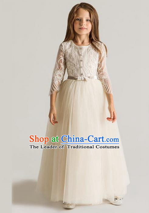 Traditional Chinese Modern Dancing Compere Performance Costume, Children Opening Classic Chorus Singing Group Dance Princess White Lace Full Dress, Modern Dance Classic Dance Dress for Girls Kids