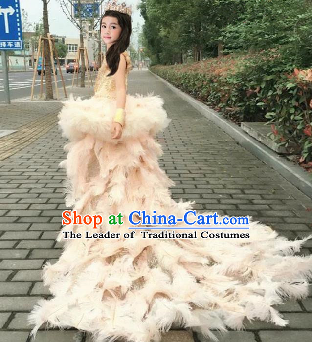 Top Grade Chinese Compere Performance Costume, Children Chorus Singing Group Full Dress Modern Dance Ostrich Feather Trailing Dress for Girls Kids