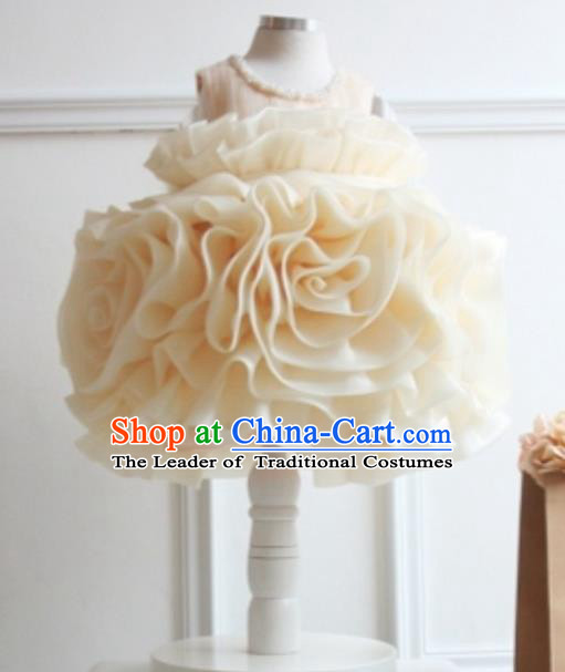Top Grade Chinese Compere Performance Costume, Children Chorus Singing Group Champagne Full Dress Modern Dance Flowers Bubble Dress for Girls Kids