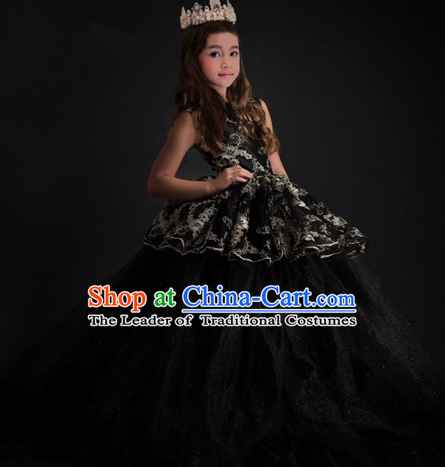 Top Grade Chinese Compere Performance Costume, Children Chorus Singing Group Black Long Full Dress Modern Dance Flowers Big Swing Trailing Dress for Girls Kids