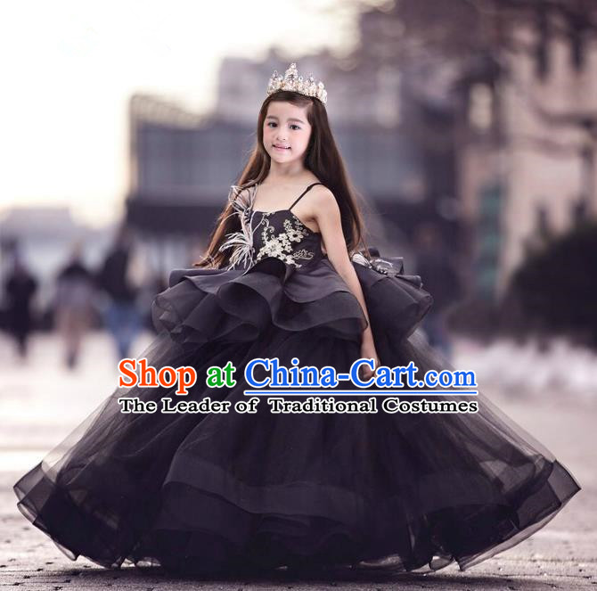 Top Grade Chinese Compere Performance Costume, Children Chorus Singing Group Black Long Full Dress Modern Dance Feather Big Swing Bubble Dress for Girls Kids