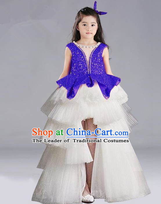 Top Grade Chinese Compere Performance Costume, Children Chorus Singing Group Blue Full Dress Modern Dance Trailing Bubble Short Dress for Girls Kids