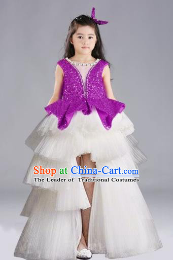 Top Grade Chinese Compere Performance Costume, Children Chorus Singing Group Purple Full Dress Modern Dance Trailing Bubble Short Dress for Girls Kids