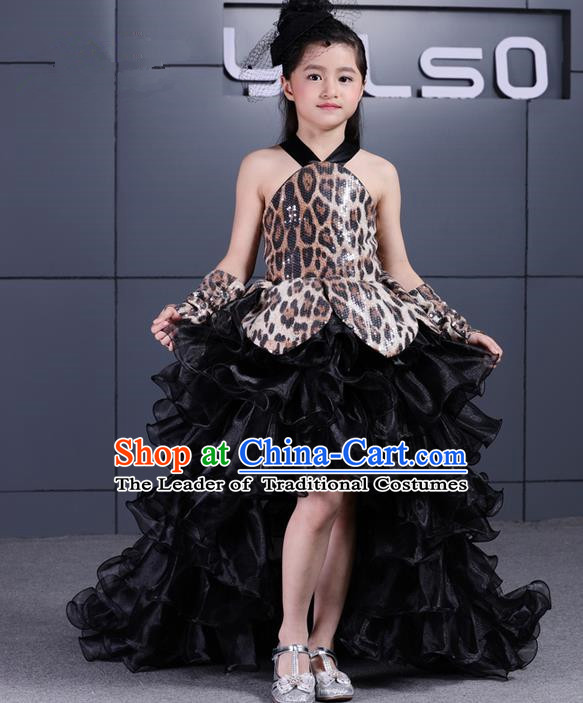 Top Grade Chinese Compere Performance Costume, Children Chorus Singing Group Black Veil Full Dress Modern Dance Leopard Trailing Bubble Short Dress for Girls Kids